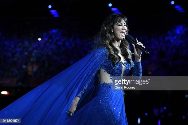 Delta Goodrem performs during the Opening Ceremony for the Gold Coast 2018 Commonwealth Games at Carrara Stadium on April 4 2018 on the Gold Coast...
