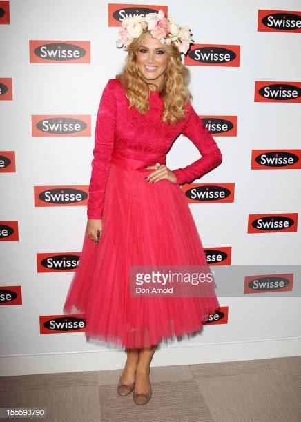Delta Goodrem poses at the Swisse marquee at the Melbourne Cup at Flemington Racecourse on November 6 2012 in Melbourne Australia