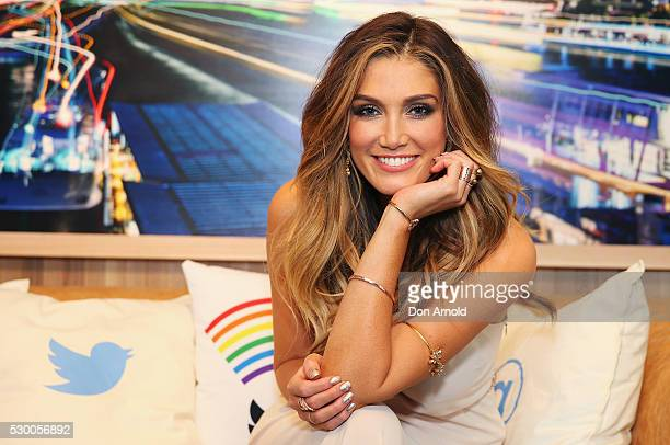 Delta Goodrem poses inside the Blue Room ahead of the Delta Goodrem Fan Party at Twitter HQ on May 10 2016 in Sydney Australia