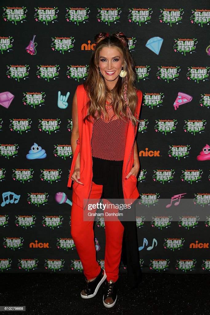 Delta Goodrem poses on the media wall ahead of the Nickelodeon Slimefest 2016 evening show at Margaret Court Arena on September 25, 2016 in Melbourne, Australia.