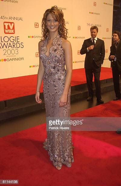 Delta Goodrem wearing a Collette Dinnigan dress arriving on the red carpet for the 45th Annual TV Week Logie Awards 2003 held at the Crown Casino...