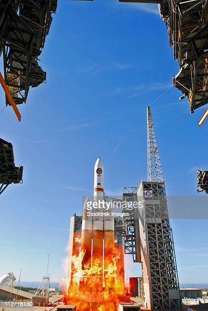 A Delta IV Heavy Launch Vehicle launches from Vandenberg Air Force Base.