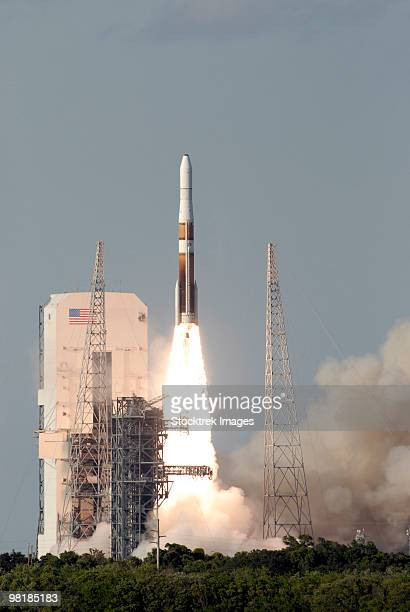 A Delta IV rocket lfits off from its launch complex.