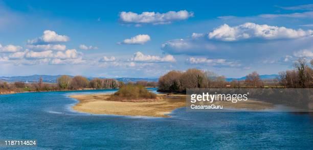 delta of river soca in italy - friuli venezia giulia - laguna foto e immagini stock