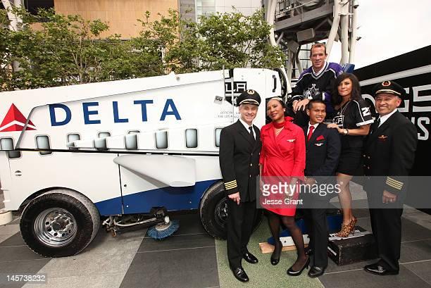 Delta pilot Larry Karp Delta flight attendants Katherine Wellington Polrit Disatapundhu Los Angeles Kings alum Glen Murray actress Jessica Szohr and...