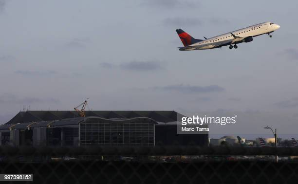 Delta plane takes off from Los Angeles International Airport on July 12 2018 in Los Angeles California Delta announced today that it will increase...
