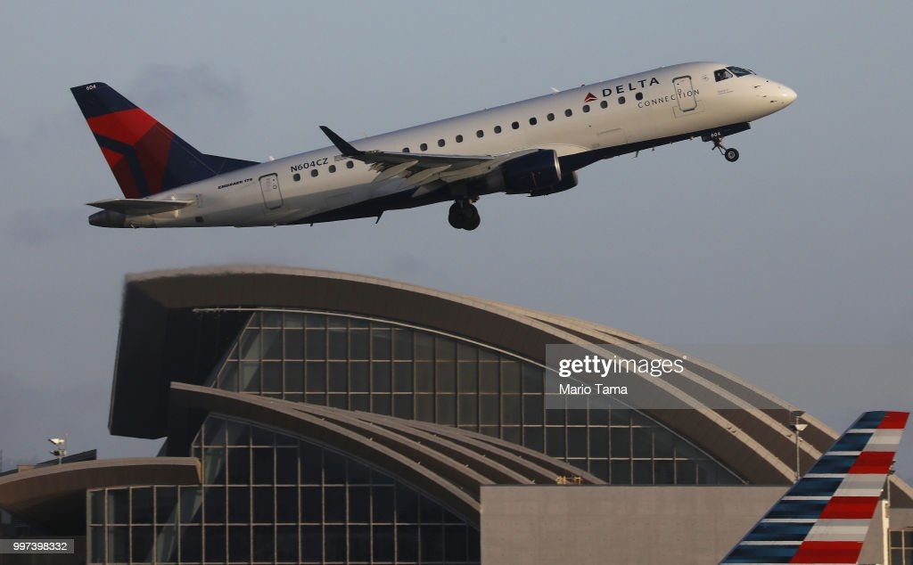 A Delta plane takes off from Los Angeles International Airport on July 12, 2018 in Los Angeles, California. Delta announced today that it will increase fares by reducing the supply of seats in an effort to offset higher fuel prices.