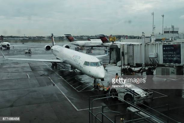 Delta planes sit on the tarmac at LaGuardia Airport on the day before Thanksgiving the nation's busiest travel day on November 22 2017 in New York...