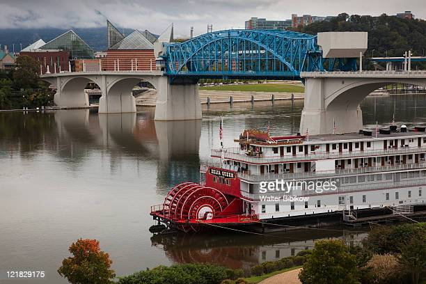 delta queen riverboat in tennessee river, chattanooga, tennessee, usa - chattanooga stock pictures, royalty-free photos & images