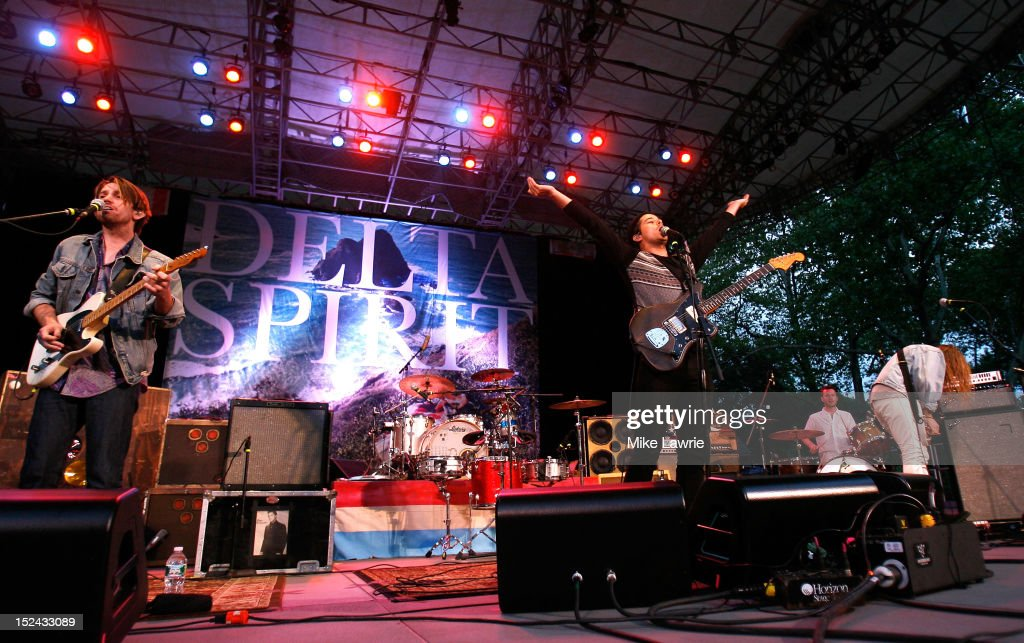 Delta Spirit performs at SummerStage at Rumsey Playfield, Central Park on September 20, 2012 in New York City.