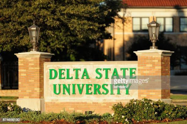 delta state university entrance sign - mississippi delta stock photos and pictures