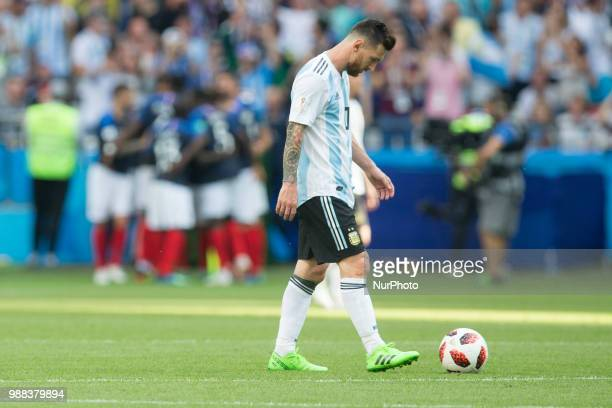 Delusion Lionel Messi of Argentina during the 2018 FIFA World Cup Russia Round of 16 match between France and Argentina at Kazan Arena on June 30...