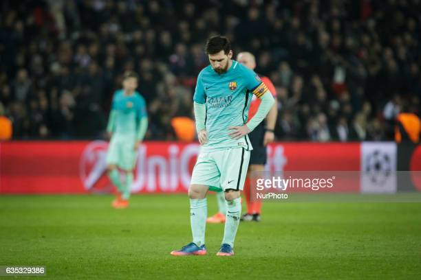 Delusion of Barcelona player Lionel Messi during the UEFA Champions League round of 16 first leg football match between Paris SaintGermain and FC...