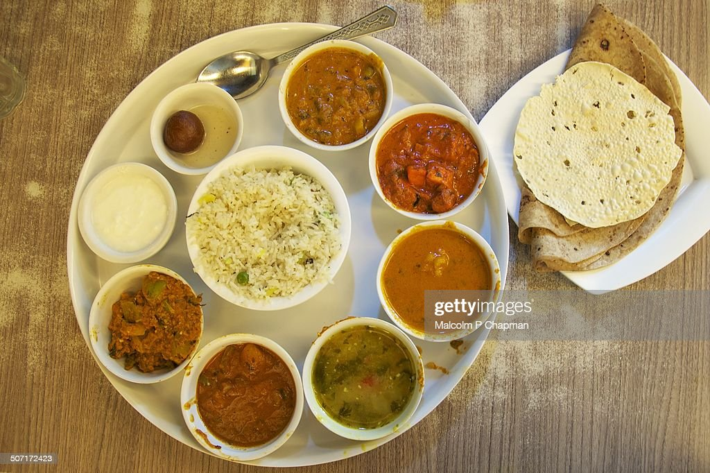 Deluxe Thali served in Mumbai, India : Stock Photo