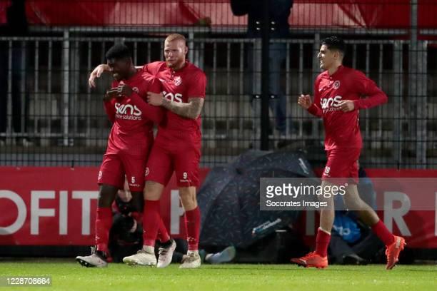 Delvechio Blackson of Almere City celebrates 2-0 with Thomas Verheydt of Almere City, Guillermo Gauna of Almere City during the Dutch Keuken Kampioen...