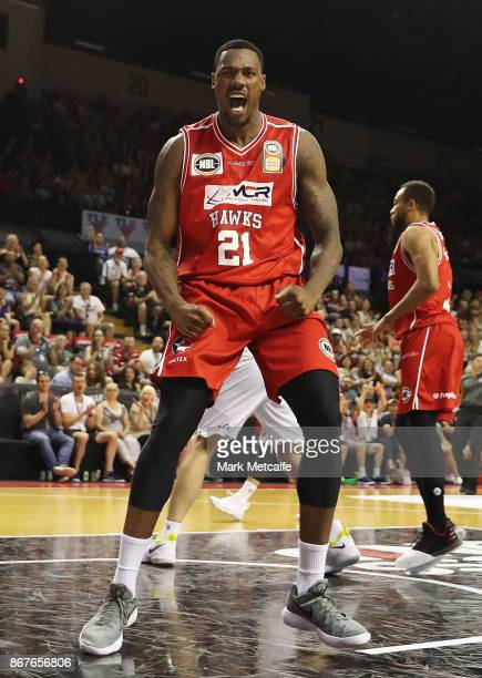 Delvin Johnson of the Hawks celebrates a basket during the round four NBL match between the Illawarra Hawks and the Sydney Kings at Wollongong...
