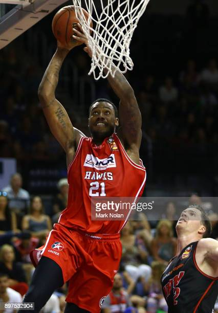 Delvon Johnson of the Hawks drives to the basket during the round 11 NBL match between the Illawarra Hawks and the Perth Wildcats at Wollongong...