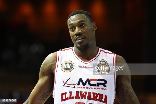 Delvon Johnson of the Hawks looks on during the round five NBL match between the Brisbane Bullets and the Illawarra Hawks at Brisbane Convention...