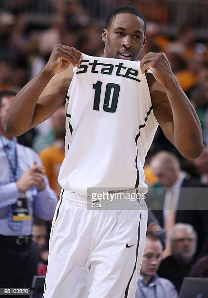 Delvon Roe of the Michigan State Spartans celebrates the win over the Tennessee Volunteers during the midwest regional final of the 2010 NCAA men's...