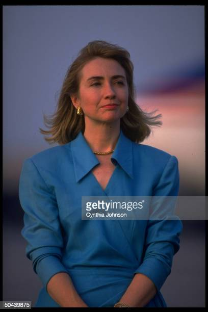 Dem presidential cand Bill Clinton's wife Hillary Rodham Clinton at airport seeing off her husband