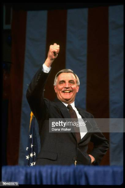Dem presidential cand Walter Mondale giving thumbsup sign at rally