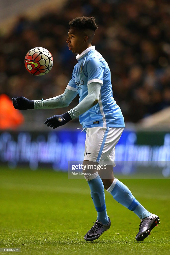 Demaeco Duhaney of Manchester City during the FA Youth Cup Semi Final, First Leg match between Manchester City and Arsenal at the City Football Academy on March 18, 2016 in Manchester, England.