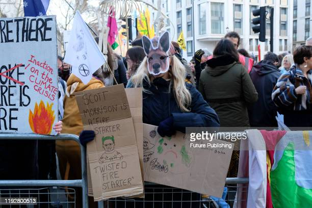 Demand Action on Australian Fires', Extinction Rebellion stage protest outside the Australian Embassy in London- PHOTOGRAPH BY Matthew Chattle /...