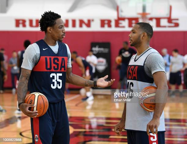 DeMar DeRozan and Eric Gordon of the United States talk during a practice session at the 2018 USA Basketball Men's National Team minicamp at the...