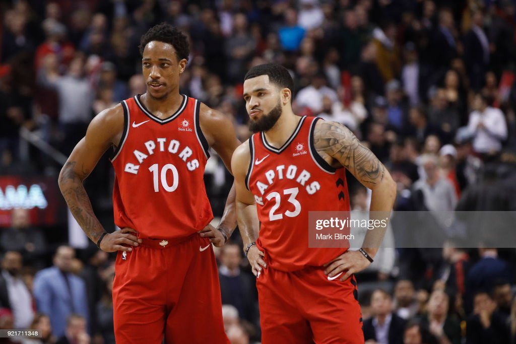 DeMar DeRozan #10 and Fred VanVleet #23 of the Toronto Raptors looks on during the game against the Minnesota Timberwolves on January 30, 2018 at the Air Canada Centre in Toronto, Ontario, Canada.