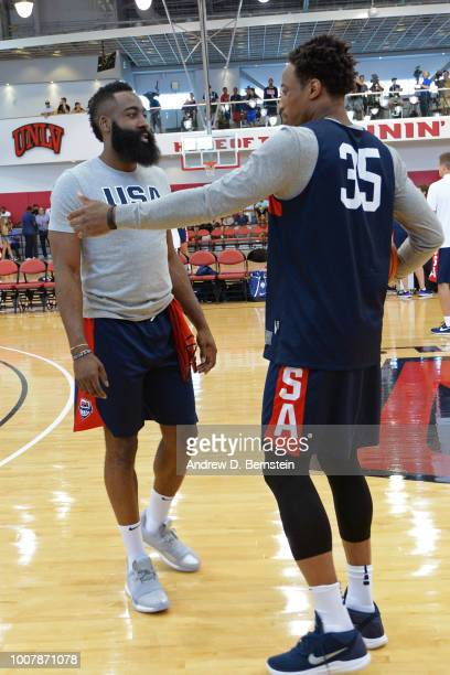 DeMar DeRozan and James Harden talk before USAB Minicamp at Mendenhall Center on the University of Nevada Las Vegas campus on July 27 2018 in Las...