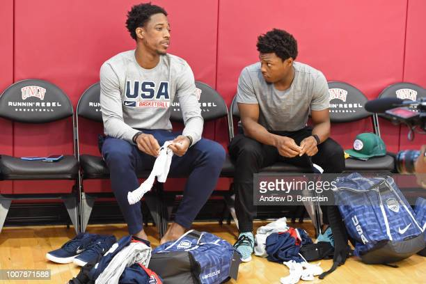 DeMar DeRozan and Kyle Lowry get ready before USAB Minicamp at Mendenhall Center on the University of Nevada Las Vegas campus on July 27 2018 in Las...
