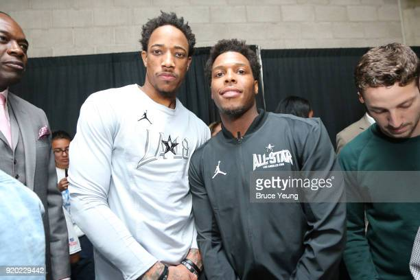 Demar DeRozan and Kyle Lowry of Team Stephen arrives before the game against Team Lebron during the NBA AllStar Game as a part of 2018 NBA AllStar...