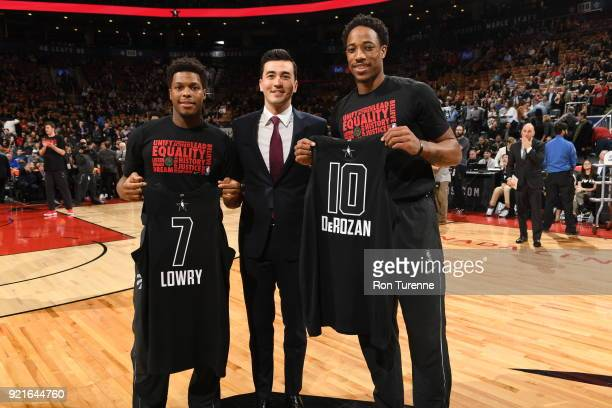 DeMar DeRozan and Kyle Lowry of the Toronto Raptors are presented their 2018 AllStar jerseys on February 13 2018 at the Air Canada Centre in Toronto...