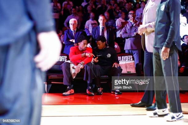 DeMar DeRozan and Kyle Lowry of the Toronto Raptors before the game against the Washington Wizards in Game Two of Round One of the 2018 NBA Playoffs...