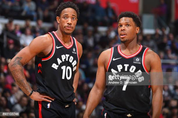 DeMar DeRozan and Kyle Lowry of the Toronto Raptors during the game against the LA Clippers on December 11 2017 at STAPLES Center in Los Angeles...