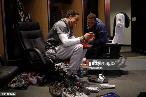 DeMar DeRozan and Kyle Lowry of the Toronto Raptors get ready before the game against the Oklahoma City Thunder on March 16 2017 at Air Canada Centre...