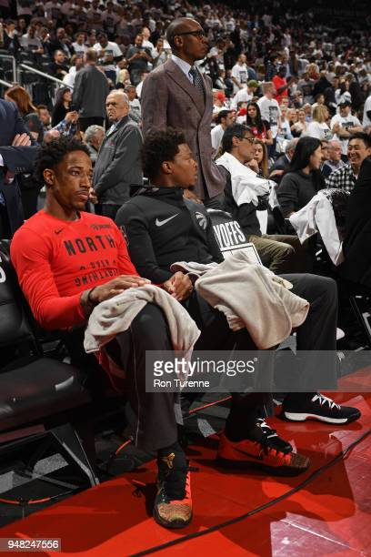 DeMar DeRozan and Kyle Lowry of the Toronto Raptors look on against the Washington Wizards in Game Two of Round One of the 2018 NBA Playoffs on April...