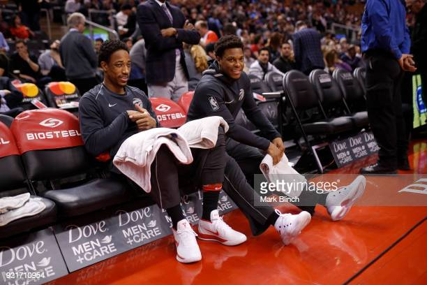 DeMar DeRozan and Kyle Lowry of the Toronto Raptors looks on before the game against the Minnesota Timberwolves on January 30 2018 at the Air Canada...