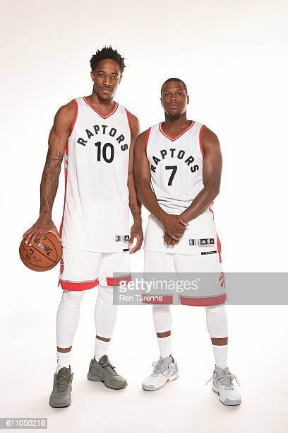 DeMar DeRozan and Kyle Lowry of the Toronto Raptors pose for a portrait during 2016 Media Day on September 28 2016 at the BioSteel Centre in Toronto...