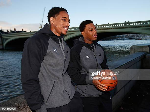 DeMar DeRozan and Kyle Lowry of the Toronto Raptors pose for a photo while sight seeing as part of 2016 London Global Games on January 12 2016 in...