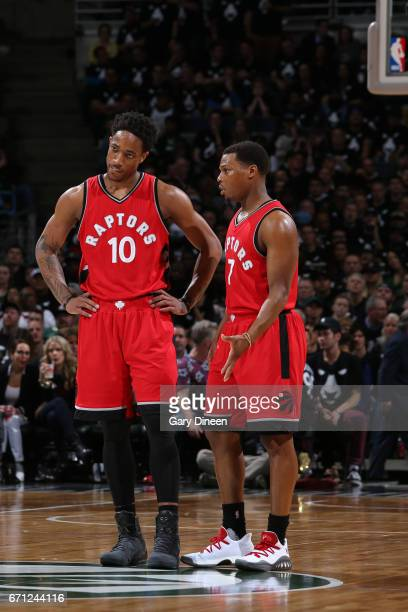 DeMar DeRozan and Kyle Lowry of the Toronto Raptors talk during Game Three of the Eastern Conference Quarterfinals against the Milwaukee Bucks of the...