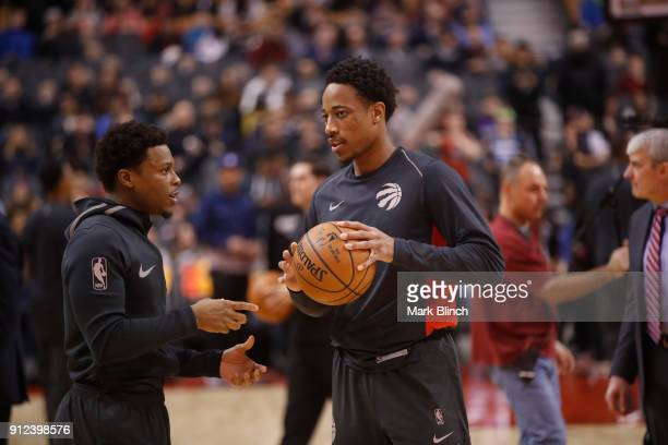 DeMar DeRozan and Kyle Lowry of the Toronto Raptors warms up before the game against the Minnesota Timberwolves on January 30 2018 at the Air Canada...