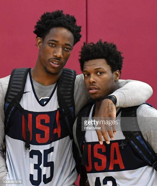 DeMar DeRozan and Kyle Lowry of the United States attend a practice session at the 2018 USA Basketball Men's National Team minicamp at the Mendenhall...