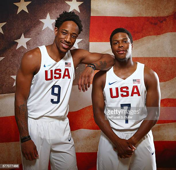 DeMar DeRozan and Kyle Lowry of the USA Basketball Men's National Team pose for a portrait on July 17 2016 at the Wynn Las Vegas in Las Vegas Nevada...
