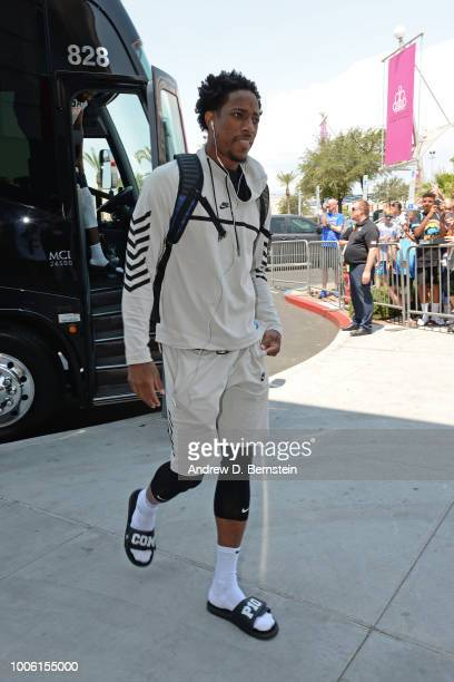 DeMar DeRozan arrives for USAB Minicamp Practice at Mendenhall Center on the University of Nevada Las Vegas campus on July 26 2018 in Las Vegas...
