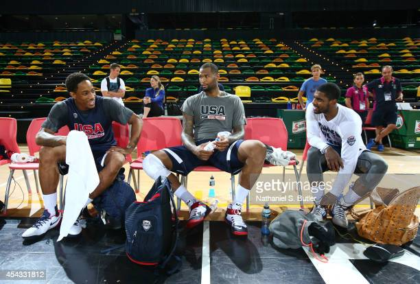 DeMar DeRozan DeMarcus Cousins and Kyrie Irving of the USA Basketball Men's National Team during a practice for the FIBA World Cup at Bilbao Arena on...