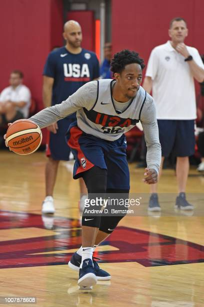 DeMar DeRozan dribbles the ball during USAB Minicamp at Mendenhall Center on the University of Nevada Las Vegas campus on July 27 2018 in Las Vegas...