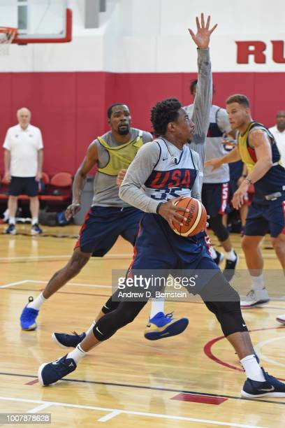DeMar DeRozan drives to the basket during USAB Minicamp at Mendenhall Center on the University of Nevada Las Vegas campus on July 27 2018 in Las...