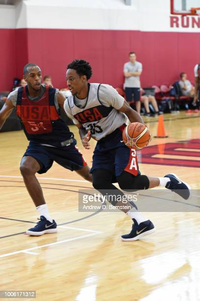 DeMar DeRozan drives to the basket during USAB Minicamp Practice at Mendenhall Center on the University of Nevada Las Vegas campus on July 26 2018 in...