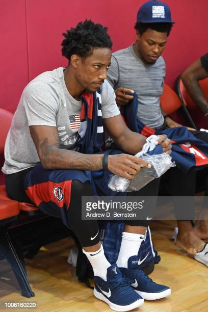 DeMar DeRozan gets ready before USAB Minicamp Practice at Mendenhall Center on the University of Nevada Las Vegas campus on July 26 2018 in Las Vegas...